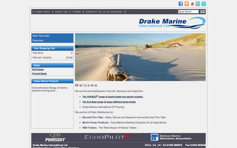 Screenshot of Home Page drakemarine.co.uk - Drake Marine for the Pursuit range of sports boats and sports cruisers and the Evo Boat range of super-efficient power boats - captured Oct. 3, 2014