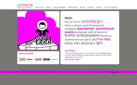 Screenshot of Home Page eskimojouk.com - eskimo jo - Experiential Promotional Events - captured Sept. 30, 2014