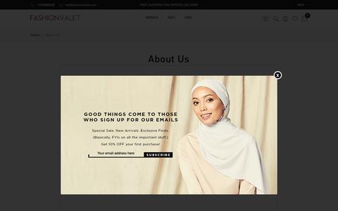 Screenshot of About Page fashionvalet.com - About Us | FashionValet - captured Dec. 19, 2018