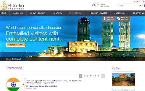Screenshot of Testimonials Page helankavacations.com - Helanka Vacations | Testimonials from customers - captured Dec. 8, 2018
