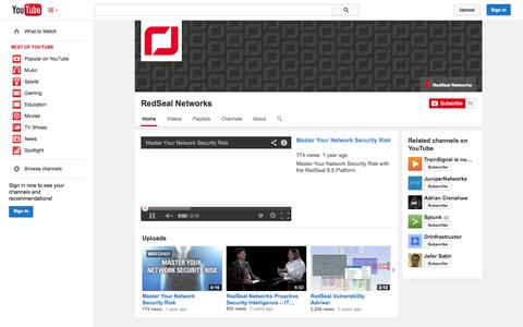 Screenshot of YouTube Page youtube.com - RedSeal Networks  - YouTube - captured Oct. 22, 2014