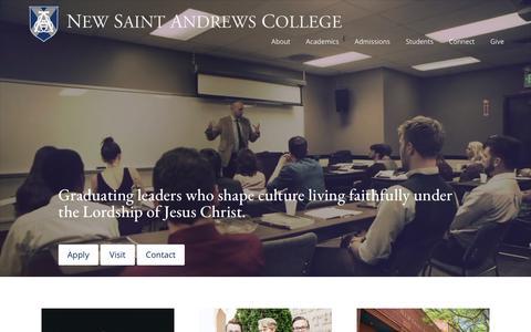 Screenshot of Home Page nsa.edu - Home - New Saint Andrews College | Graduating Christian Leaders - captured Aug. 17, 2019