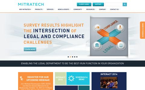 Screenshot of Home Page mitratech.com - Mitratech - Solutions for matter management, e-Billing and compliance - captured Oct. 2, 2014