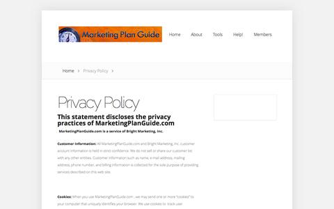 Screenshot of Privacy Page marketingplanguide.com - Privacy Policy | marketingplanguide.com - captured Oct. 4, 2014