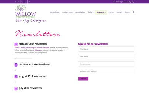Screenshot of Signup Page willowesthetics.ca - Willow Esthetics Boutique | Halifax | Facials | Manicures | Pedicures - captured Oct. 26, 2014