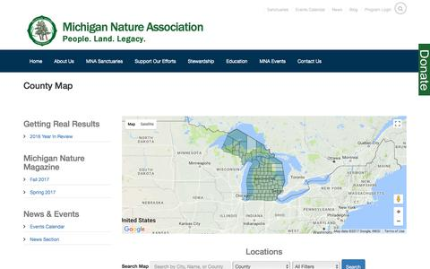 Screenshot of Maps & Directions Page michigannature.org - Michigan Nature Association - captured Oct. 18, 2017