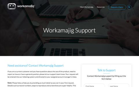 Screenshot of Support Page workamajig.com - Workamajig Help & Support - captured June 29, 2018