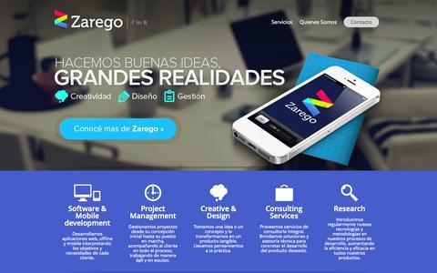 Screenshot of Home Page zarego.com - Zarego | Hacemos buenas ideas grandes realidades - captured Sept. 30, 2014