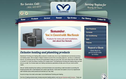 Screenshot of Products Page mackenzieplumbing.com - Commercial kitchen plumbing and heating products, Regina,SK - captured Oct. 4, 2014