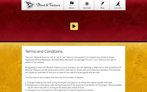 Screenshot of Terms Page bloodandtreasure.com - Blood & Treasure - captured Oct. 5, 2014