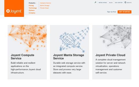 Screenshot of Products Page joyent.com - Joyent Products - Products - Joyent - captured July 19, 2014