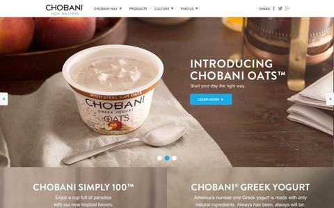 Screenshot of Home Page chobani.com - Chobani - How Matters - captured Sept. 13, 2014