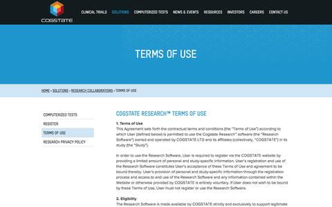 Screenshot of Terms Page cogstate.com - Terms of Use - Academic Collaboration - Cogstate - captured July 14, 2016