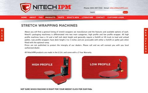 Screenshot of Products Page nitechipm.com - Stretch Wrapping Machines | NITECH IPM International Packaging Machines - captured June 25, 2016