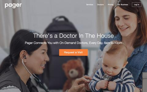 Screenshot of Home Page getpager.com - Pager | On-Demand House Call Doctors Within 2 Hours - captured Nov. 3, 2015
