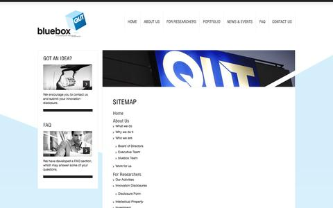Screenshot of Site Map Page qutbluebox.com.au - Sitemap | bluebox - Innovations for the Real World - captured Sept. 30, 2014