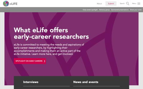 Screenshot of Jobs Page elifesciences.org - Early careers: eLife showcases junior investigators and their work | eLife - captured Oct. 31, 2014