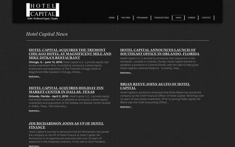 Screenshot of Press Page hotelcapital.com - Hotel Capital :: Debt | Preferred Equity | Equity - captured Sept. 29, 2018