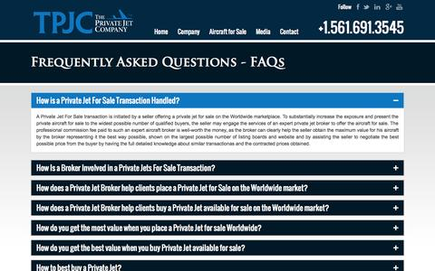 Screenshot of FAQ Page theprivatejetcompany.com - Private Jets For Sale FAQs - captured Sept. 22, 2014