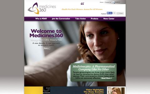 Screenshot of Home Page medicines360.org - Medicines360 | Health For Each Woman. Access For All Women. - captured Sept. 30, 2014