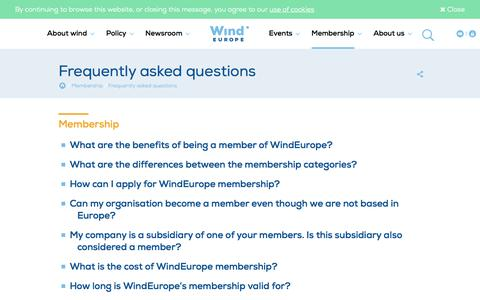 Screenshot of FAQ Page windeurope.org - Frequently asked questions | WindEurope - captured May 4, 2017