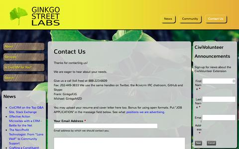 Screenshot of Contact Page ginkgostreet.com - Contact Us | Ginkgo Street Labs - captured Nov. 2, 2014