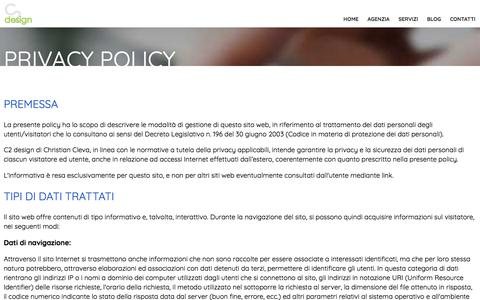 Screenshot of Privacy Page c2design.it - Informativa sulla privacy - C2 design - captured June 2, 2018