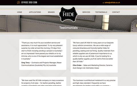 Screenshot of Testimonials Page ukhide.co.uk - Testimonials - UK Hide - captured Jan. 22, 2016