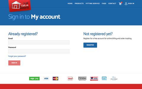 Screenshot of Login Page justvaluedoors.co.uk - Login   Just Value Doors   Easy Online Ordering - captured Sept. 20, 2018
