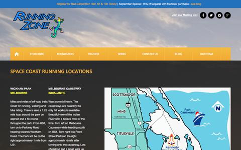 Screenshot of Locations Page runningzone.com - Space Coast Running Locations | Running Zone - captured Sept. 21, 2018