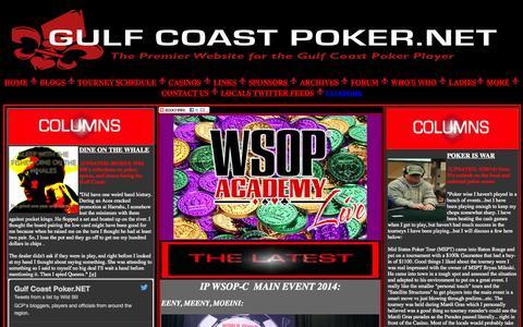 Screenshot of Home Page gulfcoastpoker.net - GULF COAST POKER - captured Oct. 3, 2014