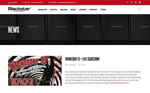 Screenshot of Press Page blackstaramps.com - Artist, Product and Company News  | Blackstar Amplification - captured Oct. 25, 2016