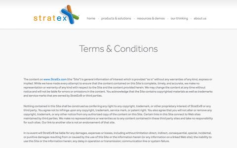 Screenshot of Terms Page stratex.com - Terms & Conditions | Stratex Partners - captured Oct. 7, 2014