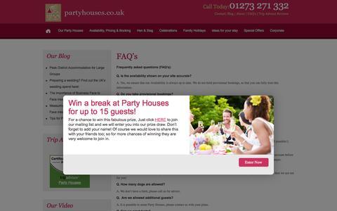 Screenshot of FAQ Page partyhouses.co.uk - FAQ's - captured Jan. 25, 2016