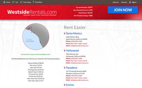 Screenshot of Contact Page Locations Page westsiderentals.com - WestsideRentals.com | 7 Locations in Southern California - captured Aug. 13, 2016