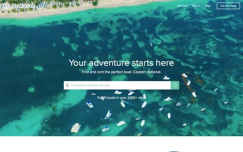Screenshot of Home Page boatbound.co - Boat Rentals, Charter Boat Rentals, House Boat Rentals on Boatbound - captured March 14, 2016