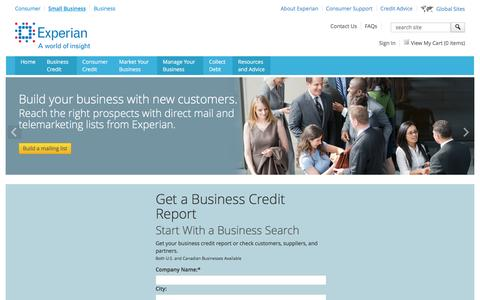 Screenshot of Services Page experian.com - Small Business Marketing Services and Business Credit Report Services from Experian - captured Oct. 3, 2016