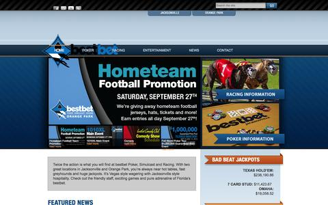 Screenshot of Home Page bestbetjax.com - bestbet | Poker – Simulcast – Racing - captured Sept. 19, 2014