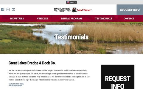 Screenshot of Testimonials Page hydratrek.com - Amphibious Vehicle Testimonials | Amphibious ATV Testimonials - captured Sept. 30, 2018