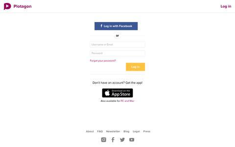 Screenshot of Login Page plotagon.com - Log in - Plotagon - captured Sept. 22, 2018