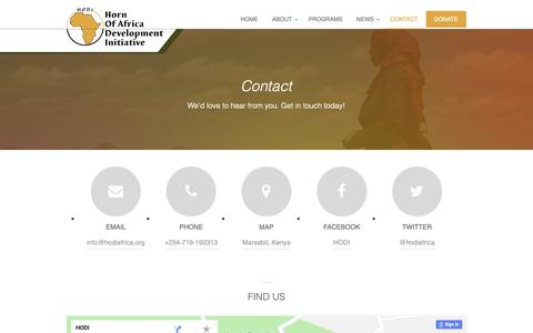 Screenshot of Contact Page hodiafrica.org - Contact — Horn Of Africa Development Initiative (HODI) - captured Sept. 29, 2018