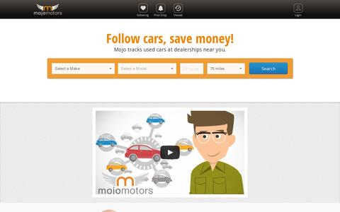 Screenshot of Home Page mojomotors.com - Find and track discounts on used cars for sale | Mojo Motors - captured July 11, 2014