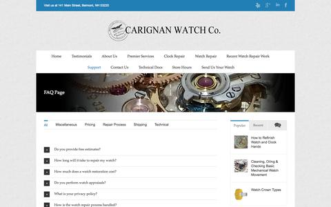 Screenshot of FAQ Page Support Page cwrnh.com - Frequently Asked Questions | Carignan Watch Company - captured Oct. 22, 2014