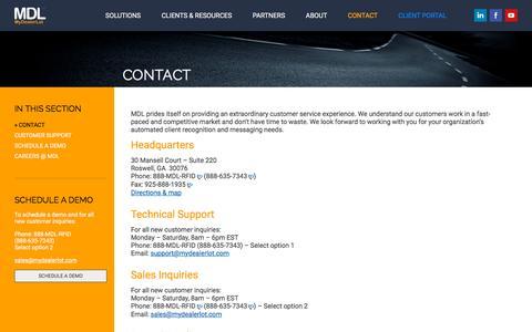 Screenshot of Contact Page mydealerlot.com - MyDealerLot - Optimizing Customer Interactions - captured Nov. 17, 2015