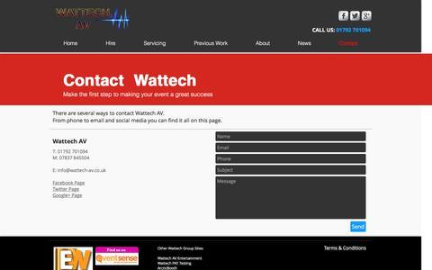 Screenshot of Contact Page wattech-av.co.uk - Wattech AV - Contact - captured Nov. 29, 2016