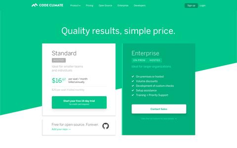 Screenshot of Pricing Page codeclimate.com - Code Climate Pricing | Quality results, simple price. 14-day free trial. - captured Aug. 25, 2016