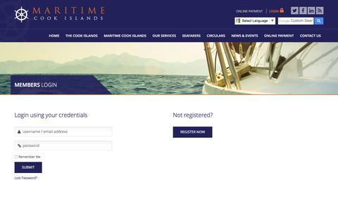 Screenshot of Login Page maritimecookislands.com - Members Login - Maritime Cook Islands - captured April 12, 2017