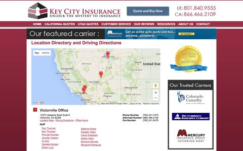 Screenshot of Locations Page keycityinsurance.com - Key City Insurance Locations and Driving Directions - captured Jan. 9, 2016