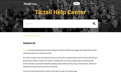 Screenshot of Contact Page tictail.com - Contact Us  – Tictail Help Center - captured May 11, 2016