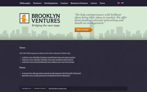 Screenshot of Press Page brooklyn-ventures.com - News | Brooklyn Ventures - captured Sept. 30, 2014